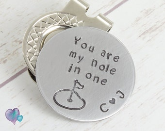 Personalized Golf Ball Marker - Magnetic Custom Ball Marker - Hand Stamped Magnetic Golf Ball Marker and Hat Clip
