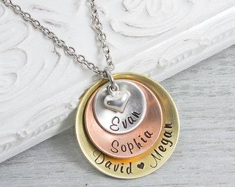 Personalized Jewelry - Mom Jewelry - Custom Name Necklace - Personalized Necklace - Hand Stamped Jewelry - Hand Stamped Mothers Necklace