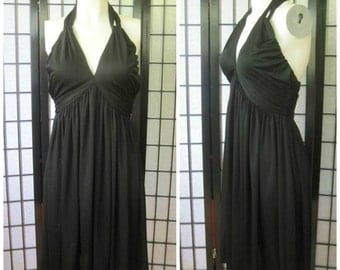 Vintage Black Dress by Donald Brooks 1960s 1970s Mod Sexy Little Black Dress Halter Top 32 34 Bust S M Empire Waist LBD Plunging Neckline