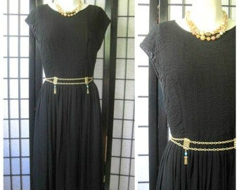 Vintage  Black Dress 1960s Cocktail Party Day to Night Crepe Chiffon Like 34 36 S M Little Black Dress Cap Sleeve Midcentury MCM Fashion
