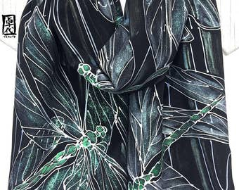 Hand Painted Silk Dragonfly Scarf, ETSY Gift, Green and Silver Dragonfly Silk Scarf, Black Silk Scarf, Silk Scarves Takuyo, 14x72 inches