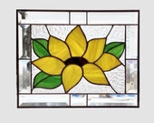 Beveled stained glass panel window sunflower abstract suncatcher stained glass window panel window hanging flower 0105