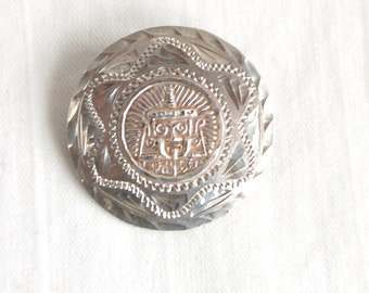 Aztec Mayan Brooch Pendant Round Sterling Silver Vintage Mexican Jewelry Ancient Symbols