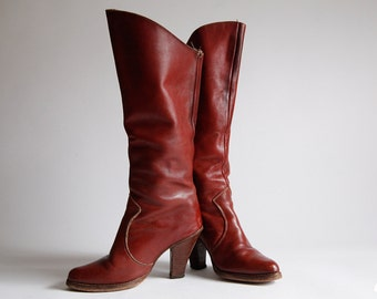 Vintage 80s Red Burgundy Leather Knee High Boots size 6 M - MADE IN USA