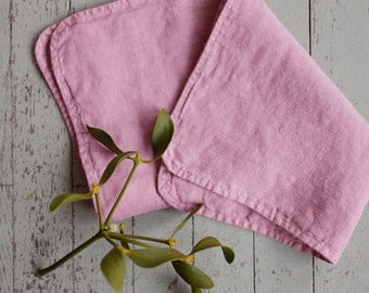 Linen Baby Burp Cloth, Pink, Hand Made, Baby Accessories, Burping Cloth, Baby Gift