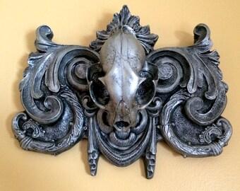 Lynx Skull Wall Plaque, pewter finish