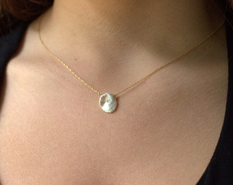 Single Pearl Gold Necklace, June Birthstone, Freshwater Pearl Necklace, Pearl Birthstone Jewelry, Beach Jewelry, Bridesmaid Jewelry Necklace