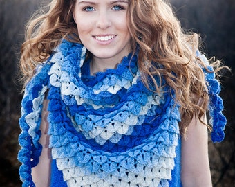 Blue gradient shawl