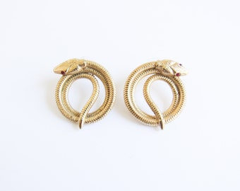Vintage Snake Earrings / Gold Coiled Snake Earrings with Red Eyes
