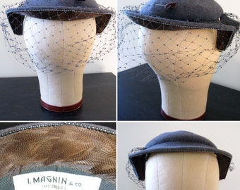 Vintage 1940s 1950s Gray I. Magnin Sculptural Wool Hat with Brown Feathers and Hat Pin