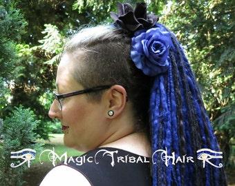 2 x GOTH HAIR FLOWER Gothic Lolita hair roses Black Blue rose hair clips Goth Wedding hair jewelry Tribal Fusion belly dance hair accessory