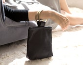 TESSA Black Leather Purse. Small Black Purse. Bracelet Bag. Small Black Bag. Small Leather Pouch