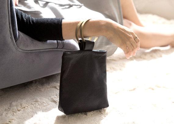 TESSA Black Leather Purse. Small Black Purse. Bracelet Bag. Small Black Bag. Small Leather Pouch