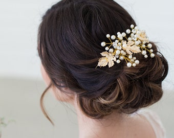 Gold Pearl Hair Vine Headpiece, Gold Leaves Bridal Comb, Wedding Hair Accessories, Pearl Bridal Headpiece, Gold Wedding Hair Accessories