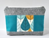 Woman's black linen patchwork beauty bag padded travel pouch retro mustard tree and teal blue block print cosmetics quilted make up pouch.