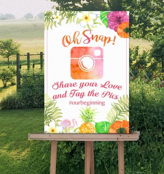 Hawaiian Wedding Reception Ideas: Oh Snap Instagram Wedding Sign-Tropical Luau Welcome Sign