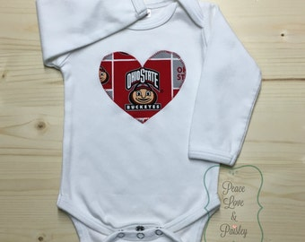 OSU Bodysuit with Heart Made from Ohio State University Fabric, OSU Baby, Baby Girl OSU, Baby Shower Gift, Baby Buckeyes