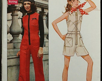 RARE Butterick 5617 Young Designer Australia Prue Acton 1970s 70s Jumpsuit Vintage Sewing Pattern Size 11 Bust 33.5