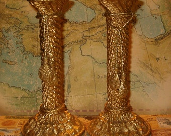 "Candlestick Set, Gold Ormalu over Plaster, Tassels on Rope, &.5""H, Felt Base"