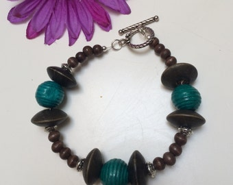 Teal and Wood Bracelet