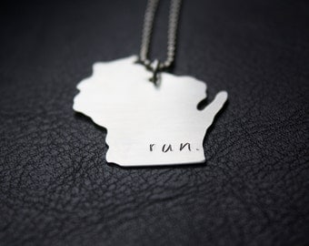 Run WI Necklace, Wisconsin Running Jewelry, Distance Runner Gift