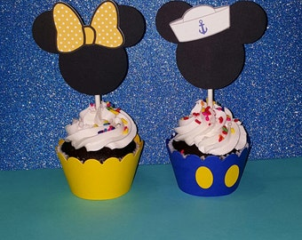 12 Mickey Nautical Cupcake Toppers - Minnie Cupcake Toppers - Minnie Mouse Birthday