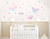 Butterfly Wall Decal for Girls Nursery Walls, Reusable Fabric Butterfly Decals, Lucy Butterfly, Heart Decals for Girls, Watercolor Butterfly