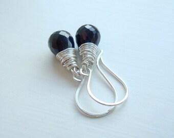 Black earrings - Small earrings - Wire wrapped jewelry - Simple earrings - Wire wrapped earrings - Everyday earrings - Mothers Day gift