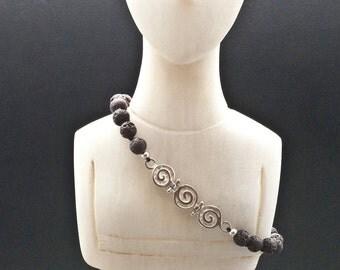 Greek Spiral Bracelet, Lava and Silver Unisex Bracelet, Black Stone Minimalist Beaded Bracelet, Santorini Lava Jewelry, Greek Jewelry