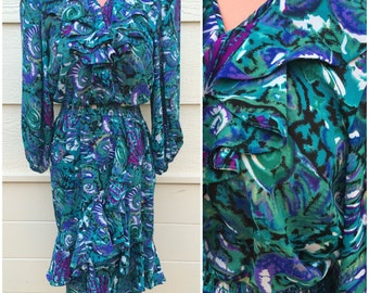 Resort purple and teal blue printed frill collar and fishtail front 80s dress size medium