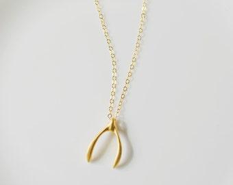 Lucky Gold Wishbone Necklace, Wishbone Charm Necklace, Wishbone Pendant, 14kt Gold Filled Wishbone Necklace