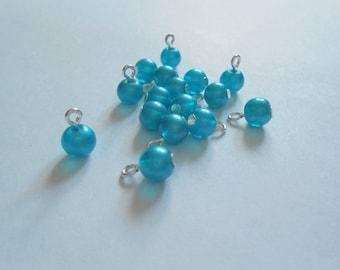 Blue Pastel Transparent Glass Dangle Beads