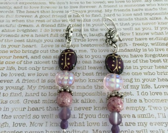Ladybug Earrings - Limited Edition - Made With Czech Beads In Purple and Pink Great For Ladybug Lovers Laydbird