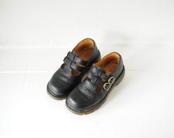 Vintage Dr. Martens Black Leather T-Strap Platform Sandals, Made in England, Womens UK 6, US 8