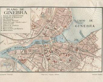 Vintage City Map of Geneva Switzerland