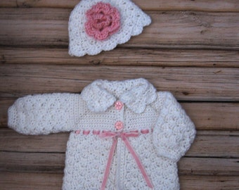 White Baby Sweater Set Knit Baby Girl Sweater Hat White Crochet 0 to 3 month Baby Sweater Hat Set Sweater and Beanie White Baby Girl Jacket