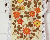 Upcycled Linen Tea Towel Tunic Women Dress Textured Cotton White Brown Black Retro Floral Mod Mini Australia Floral Small