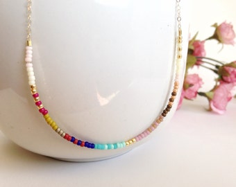 Extra thin bead necklace, colorful short necklace, simple modern necklace, layering necklace, boho chic Gift for her