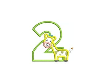 Giraffe numbers applique machine embroidery design.  TWO SIZES.