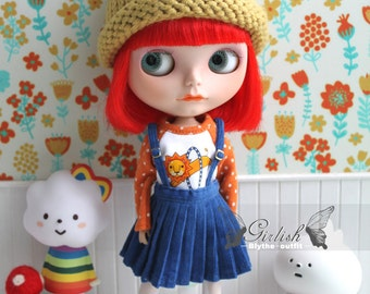 Girlish - Blue Pleated Skirt Set for Blythe doll - dress / outfit