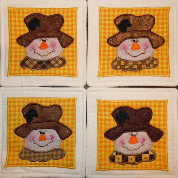 Primitive Whimsical Country Fall SCARECROW Coasters Mug Mats Hot Pads Trivets