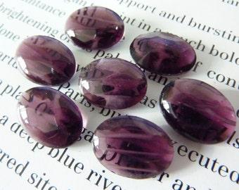 4 glass jewels, 14x10mm, pruple white, oval