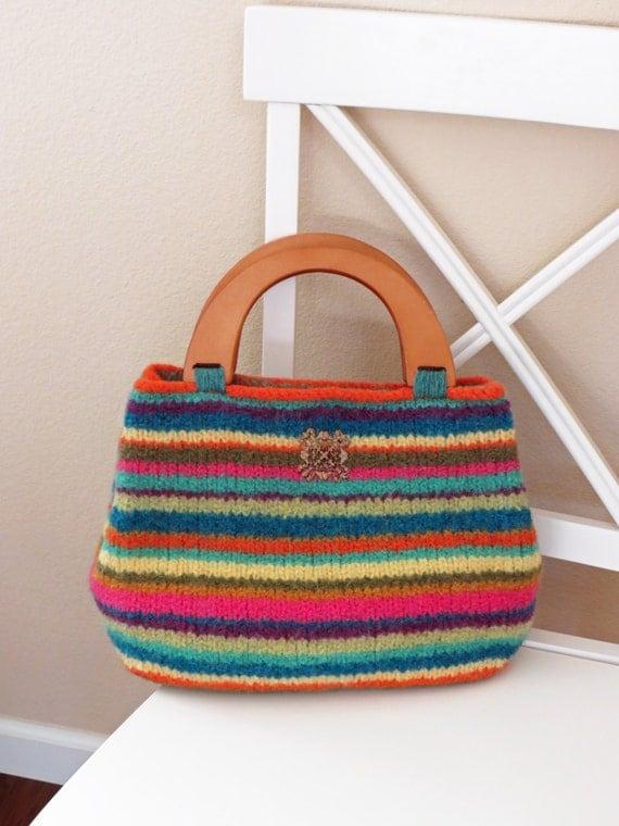 Knitted Mitten Patterns Free : Knit Bag Pattern Felted Purse Pattern Knit Purse Knitting