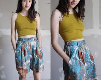 Vintage 80s Marble Print Pleated Twill Shorts 27-28 waist