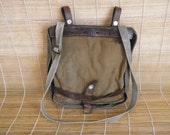 Vintage 1943's Swiss Army Salt And Pepper Green Canvas Belt Pouch Bag Shoulder Bag