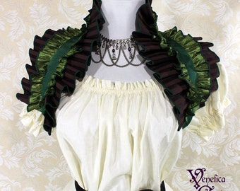 Steampunk Ruffle Shrug -- Purple & Green, 2 Layer -- Ready to Ship