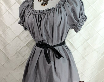 "Cora Chemise in Grey Cotton - Sz. XS - Bust 30""-34"""