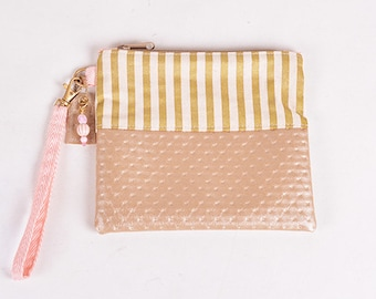 Pink and Gold Stripe Wristlet Clutch-Large