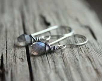 Labradorite Earrings- Sterling Silver, Artisan Earrings, Wire Wrapped Earrings