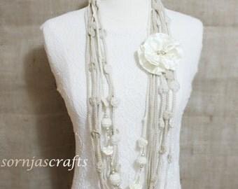 Beautiful Elegant Necklace/Scarf w/ Flower, Crochet Chain Necklace/Scarf w/ Flower, Flower Pin